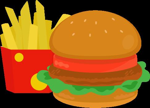 ハンバーガーとポテトのイラスト