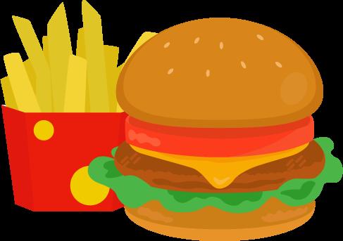 チーズバーガーとポテトのイラスト