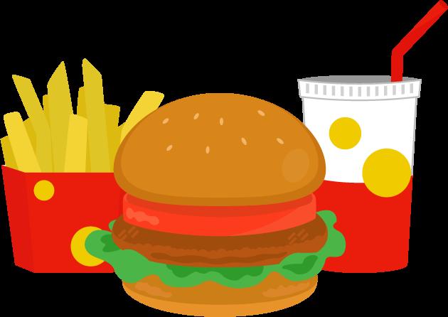 ハンバーガーとドリンクとポテトのイラスト