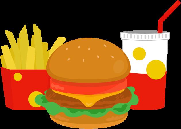 チーズバーガーとドリンクとポテトのイラスト