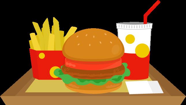 トレーに乗ったハンバーガーセットのイラスト