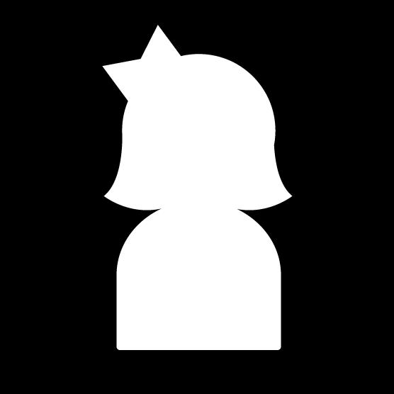 人物アイコンのイラスト(女性・リボン・白黒・丸)