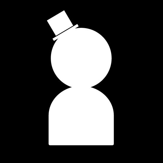 人物アイコンのイラスト(男性・帽子・白黒・丸)