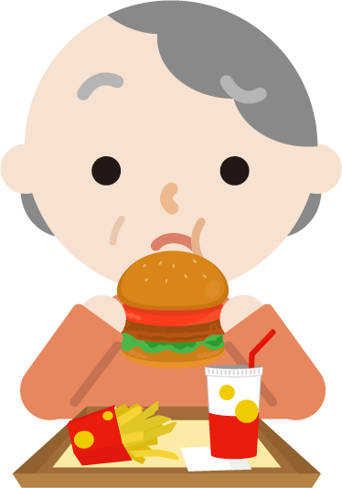 ハンバーガーを食べる高齢者の女性のイラスト(まずい)