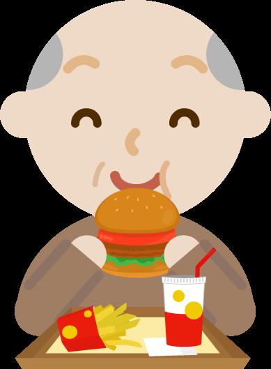 ハンバーガーを食べる高齢者の男性のイラスト(笑顔)