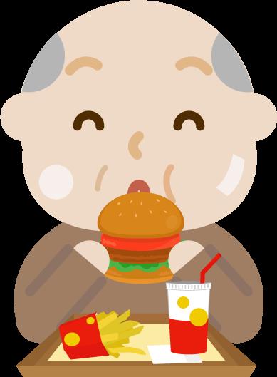 ハンバーガーを食べる高齢者の男性のイラスト(太る)