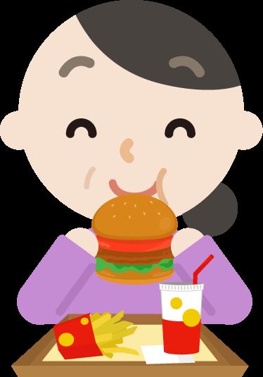 ハンバーガーを食べる中年の女性のイラスト(笑顔)