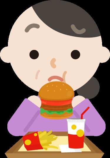 ハンバーガーを食べる中年の女性のイラスト(まずい)