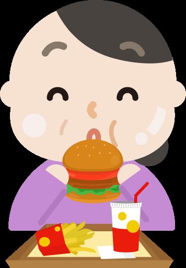 ハンバーガーを食べる中年の女性のイラスト(太る)