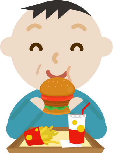 ハンバーガーを食べる中年の男性のイラスト(笑顔)