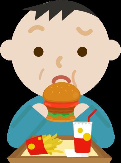 ハンバーガーを食べる中年の男性のイラスト(まずい)
