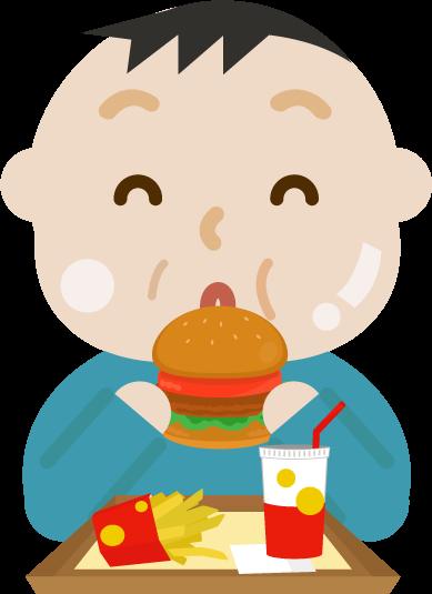 ハンバーガーを食べる中年の男性のイラスト(太る)