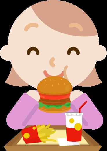ハンバーガーを食べる若い女性のイラスト(笑顔)