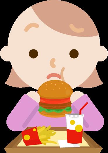 ハンバーガーを食べる若い女性のイラスト(まずい)