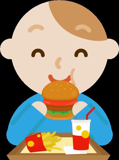 ハンバーガーを食べる若い男性のイラスト(笑顔)