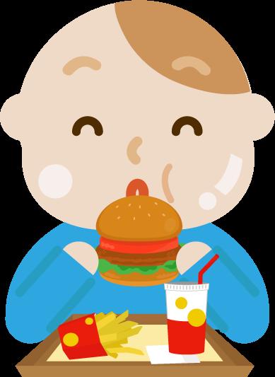 ハンバーガーを食べる若い男性のイラスト(太る)