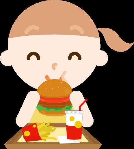 ハンバーガーを食べる女の子のイラスト(笑顔)