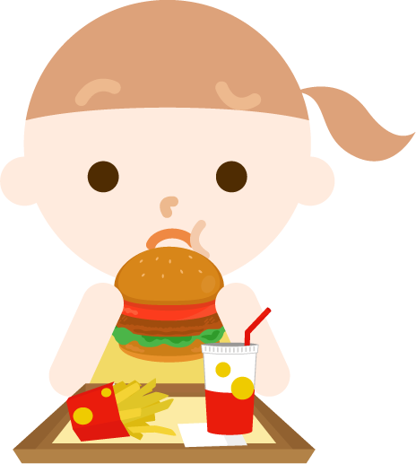 ハンバーガーを食べる女の子のイラスト(まずい)