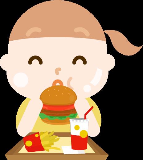 ハンバーガーを食べる女の子のイラスト(太る)