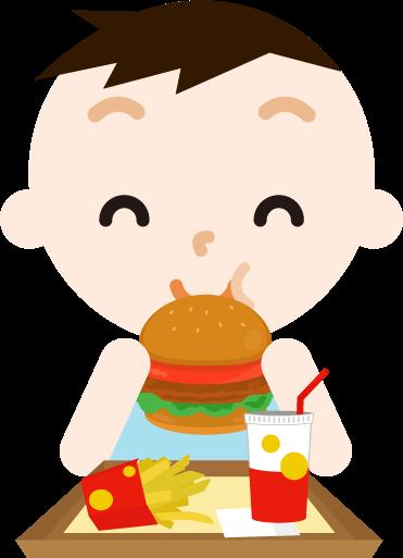 ハンバーガーを食べる男の子のイラスト(笑顔)