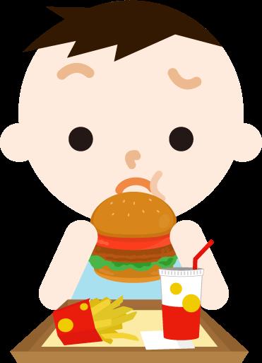 ハンバーガーを食べる男の子のイラスト(まずい)