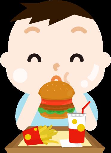 ハンバーガーを食べる男の子のイラスト(太る)
