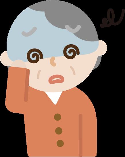 体調不良の高齢者の女性のイラスト(めまい)