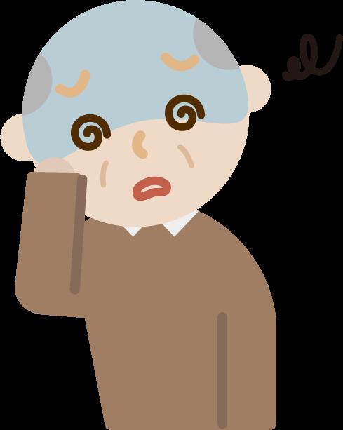 体調不良の高齢者の男性のイラスト(めまい)