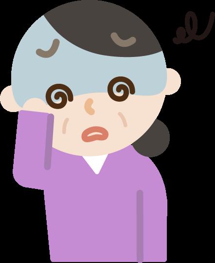 体調不良の中年の女性のイラスト(めまい)