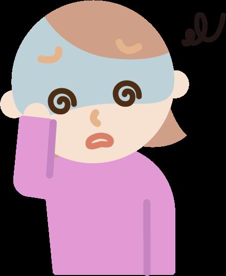 体調不良の若い女性のイラスト(めまい)