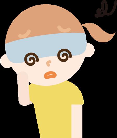体調不良の女の子のイラスト(めまい)