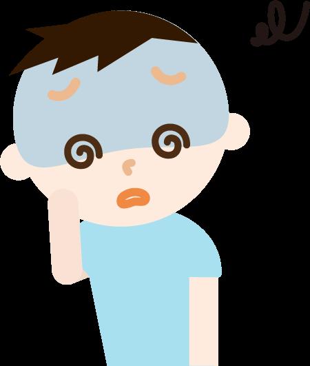 体調不良の男の子のイラスト(めまい)