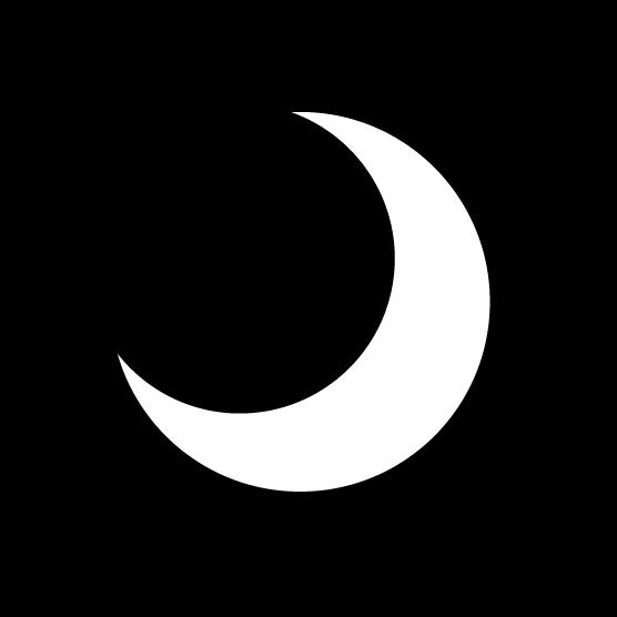 月のアイコンイラスト(丸・白黒)