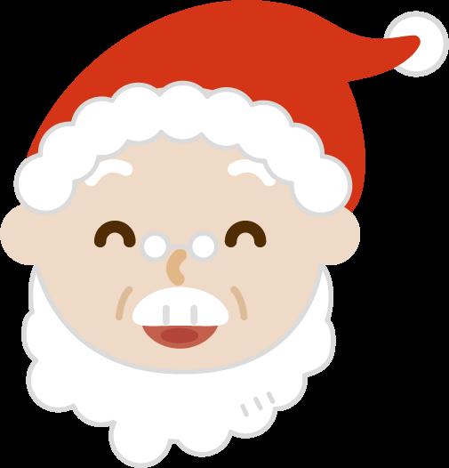 サンタの顔のイラスト(笑顔)
