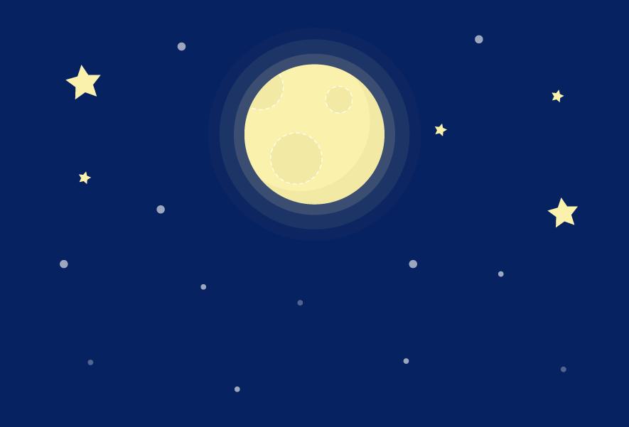満月の夜空のイラスト