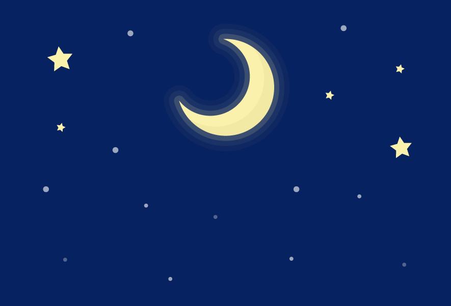 三日月の夜空のイラスト