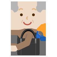 折り畳み傘を持つ高齢者の男性のイラスト