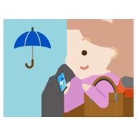スマホで雨チェックをする若い女性のイラスト