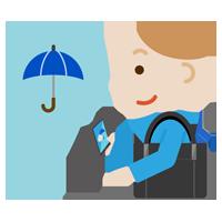 スマホで雨チェックをする若い男性のイラスト