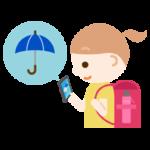 スマホで天気予報チェックする女の子のイラスト