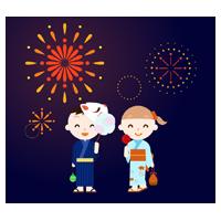 花火と、浴衣を着た子供のイラスト
