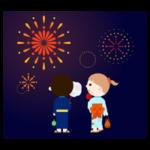 花火と、浴衣を着た子供のイラスト(後ろ)