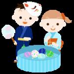 水ヨーヨー釣りをする子供のイラスト