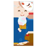 浴衣を着た若い女性のイラスト2