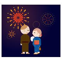 若い男女と夜空の花火のイラスト(後ろ向き)
