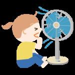 扇風機の風に当たる女の子のイラスト2