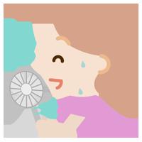 ハンディ扇風機で涼む若い女性のイラスト