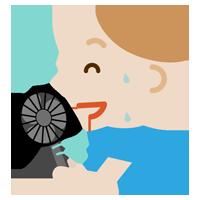 ハンディ扇風機で涼む若い男性のイラスト