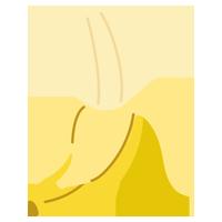 半分剥いてあるバナナのイラスト