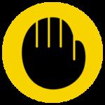 禁止を意味する手のアイコンイラスト(黄黒)